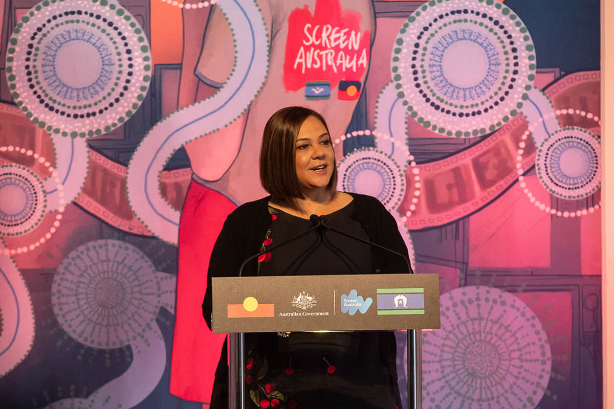 Penny Smallacombe addresses the audience at Screen Australia's celebration of 25 years of Indigenous screen stories