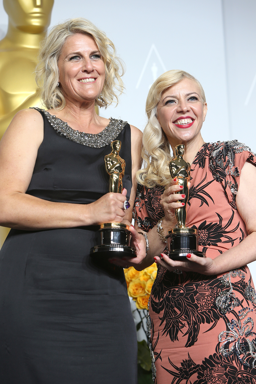 Production Designer Beverley Dunn and Catherine after receiving their Oscars for their work on <em>The Great Gatsby</em>